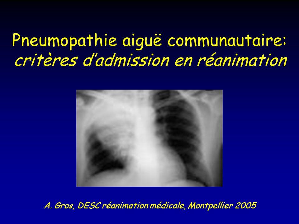 Pneumopathie aiguë communautaire: critères d'admission en réanimation