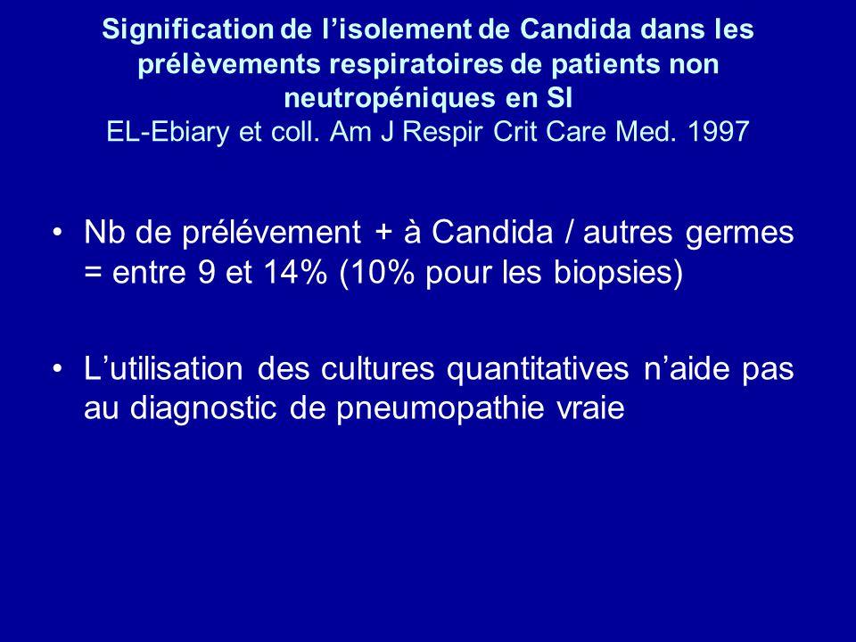 Signification de l'isolement de Candida dans les prélèvements respiratoires de patients non neutropéniques en SI EL-Ebiary et coll. Am J Respir Crit Care Med. 1997