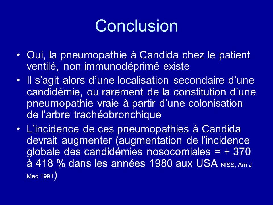 Conclusion Oui, la pneumopathie à Candida chez le patient ventilé, non immunodéprimé existe.