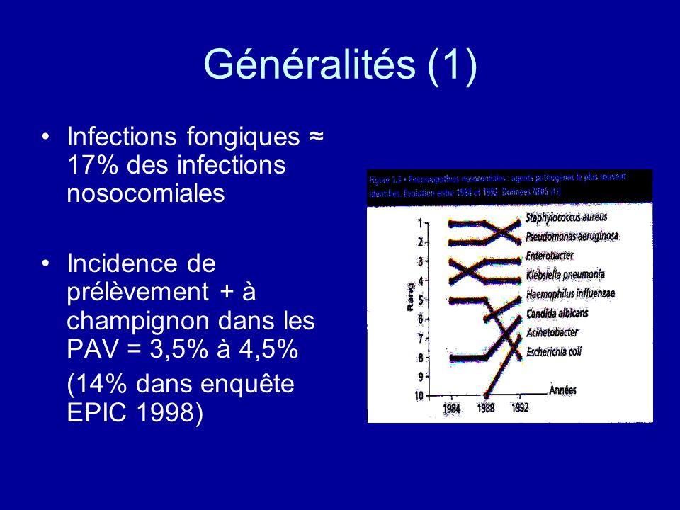 Généralités (1) Infections fongiques ≈ 17% des infections nosocomiales
