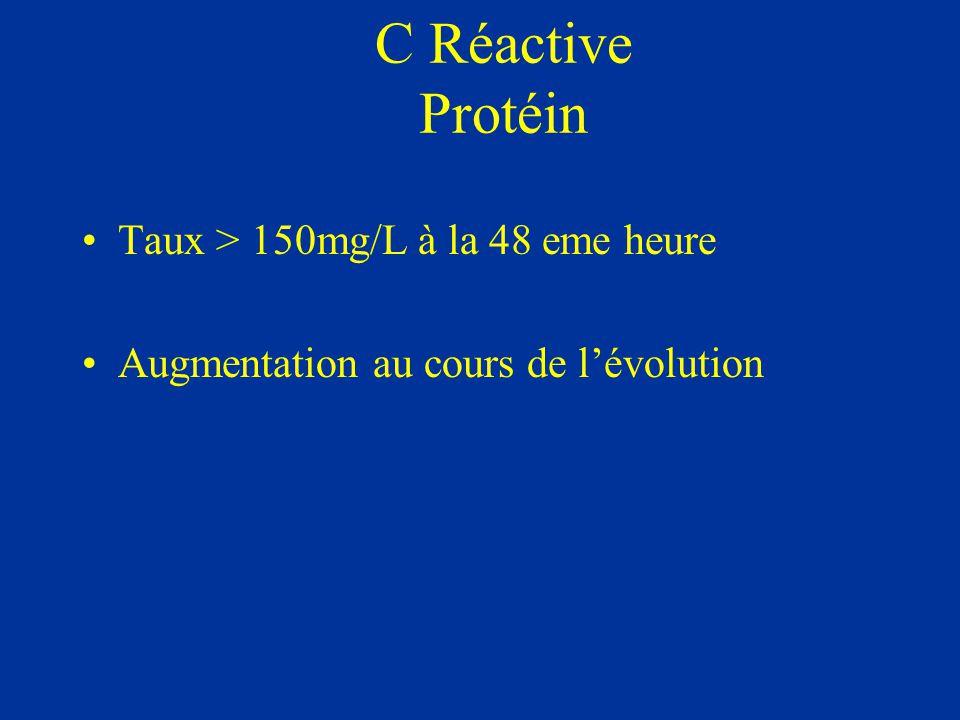 C Réactive Protéin Taux > 150mg/L à la 48 eme heure