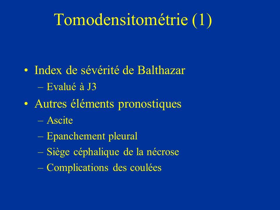 Tomodensitométrie (1) Index de sévérité de Balthazar