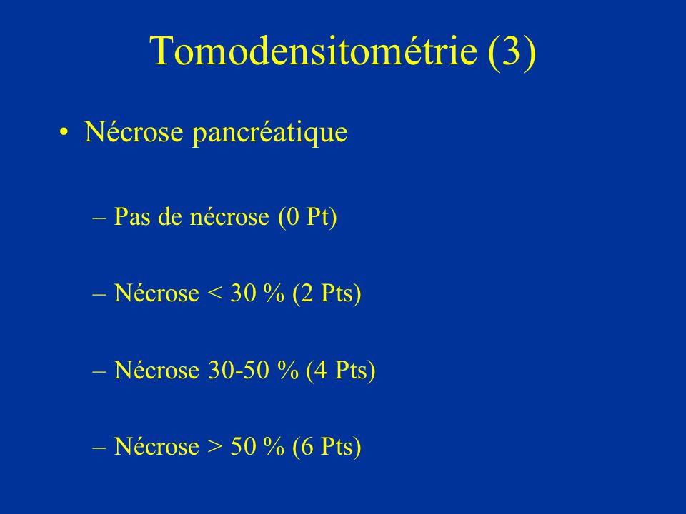 Tomodensitométrie (3) Nécrose pancréatique Pas de nécrose (0 Pt)
