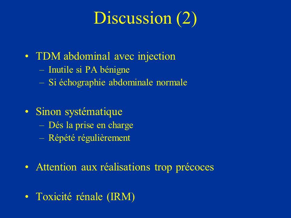 Discussion (2) TDM abdominal avec injection Sinon systématique