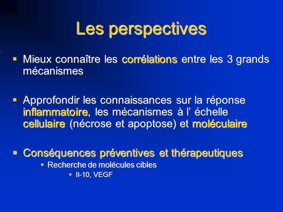 Les perspectives Mieux connaître les corrélations entre les 3 grands mécanismes.