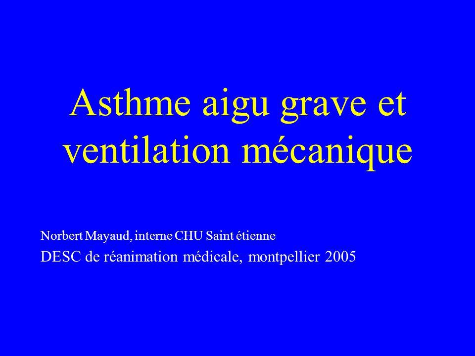 Asthme aigu grave et ventilation mécanique