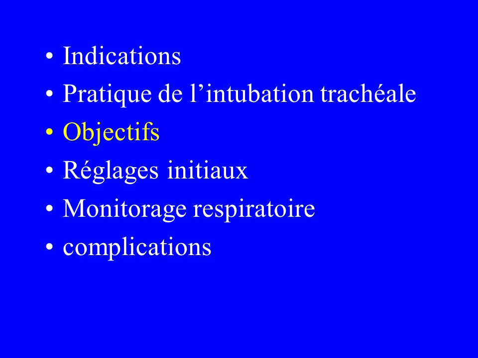 Indications Pratique de l'intubation trachéale. Objectifs. Réglages initiaux. Monitorage respiratoire.