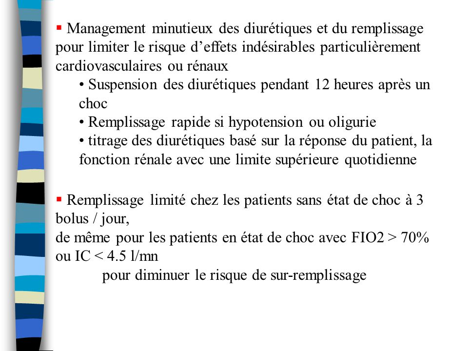 Management minutieux des diurétiques et du remplissage pour limiter le risque d'effets indésirables particulièrement cardiovasculaires ou rénaux