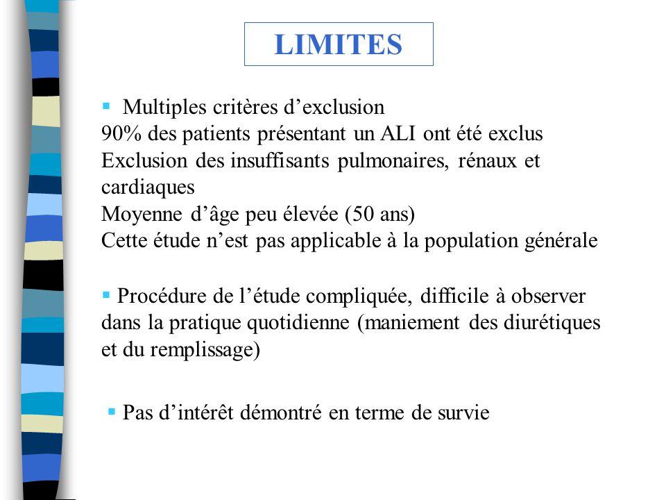 LIMITES Multiples critères d'exclusion