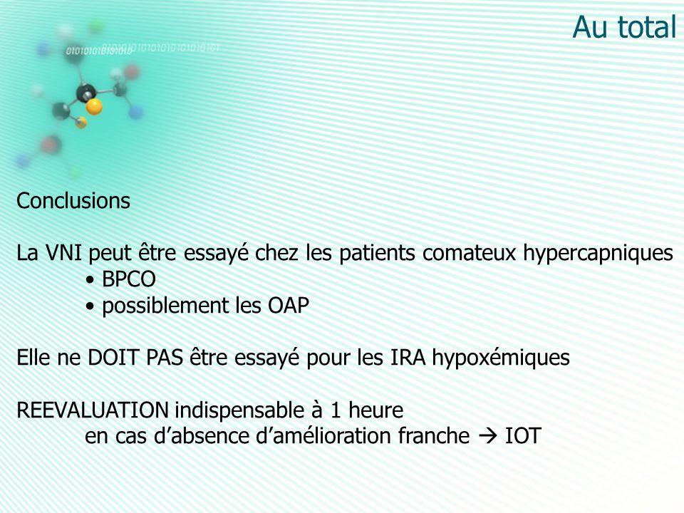 Au total Conclusions. La VNI peut être essayé chez les patients comateux hypercapniques. BPCO. possiblement les OAP.