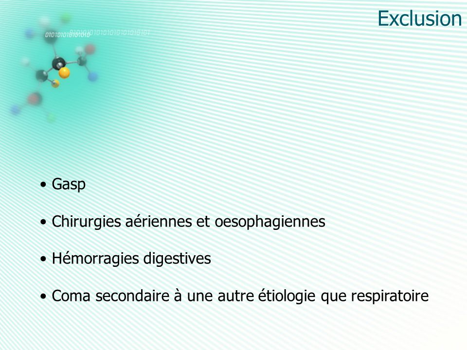 Exclusion Gasp Chirurgies aériennes et oesophagiennes