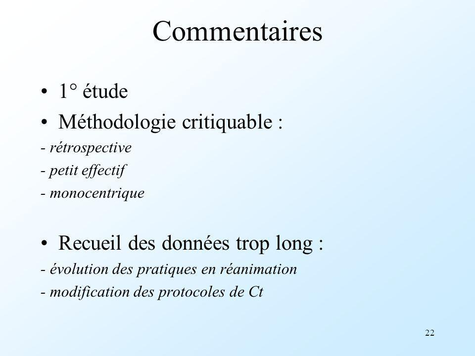 Commentaires 1° étude Méthodologie critiquable :