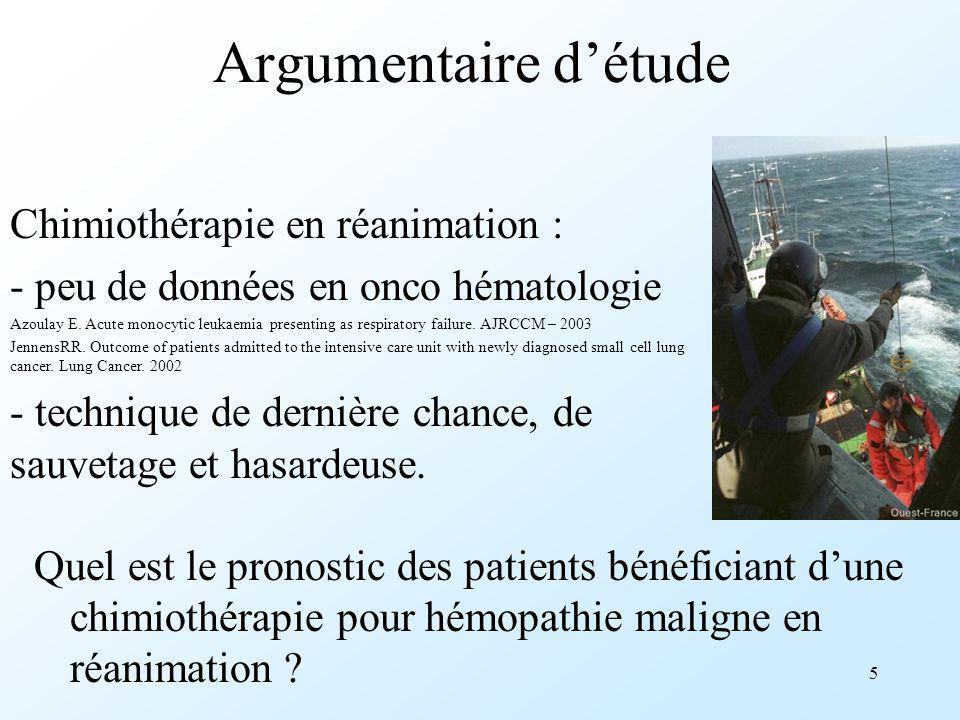 Argumentaire d'étude Chimiothérapie en réanimation :