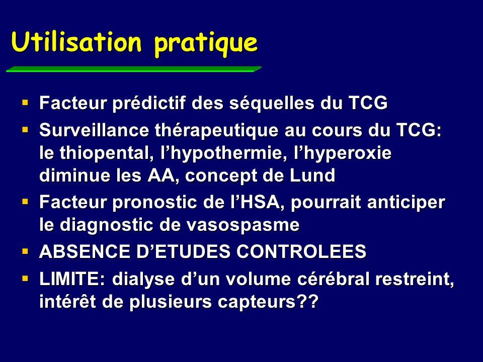 Utilisation pratique Facteur prédictif des séquelles du TCG