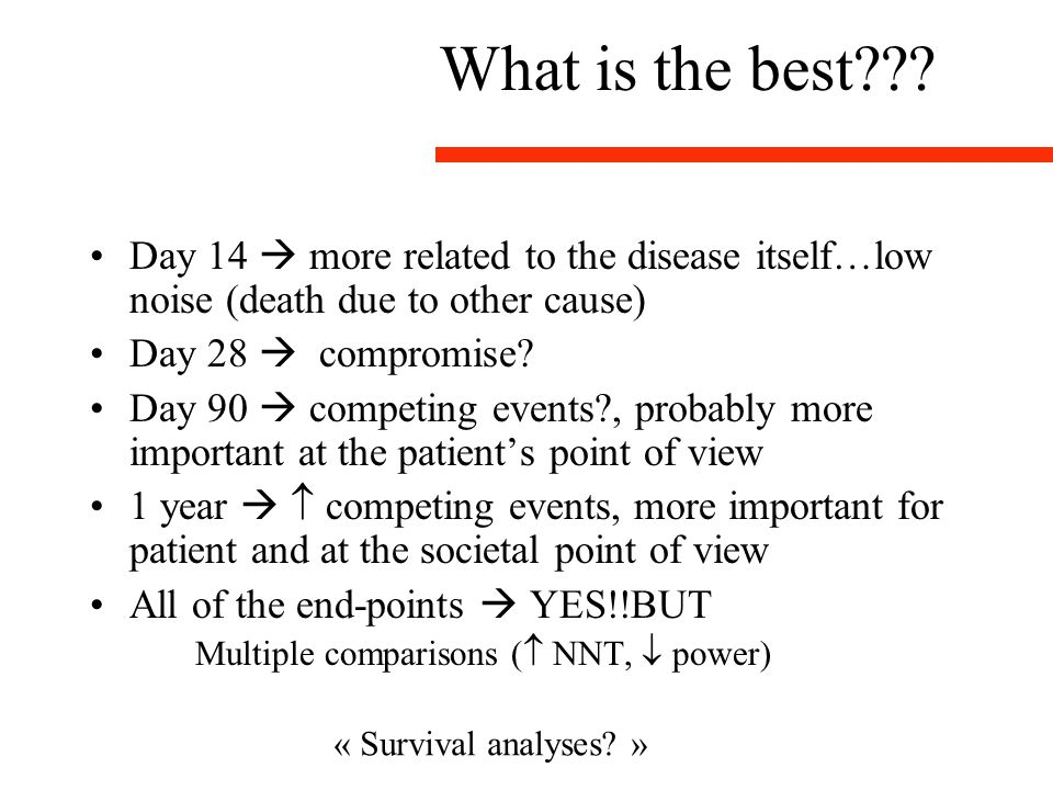 What is the best Day 14  more related to the disease itself…low noise (death due to other cause)