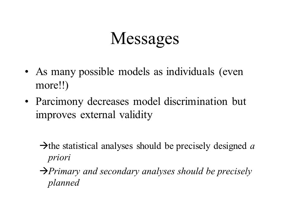 Messages As many possible models as individuals (even more!!)