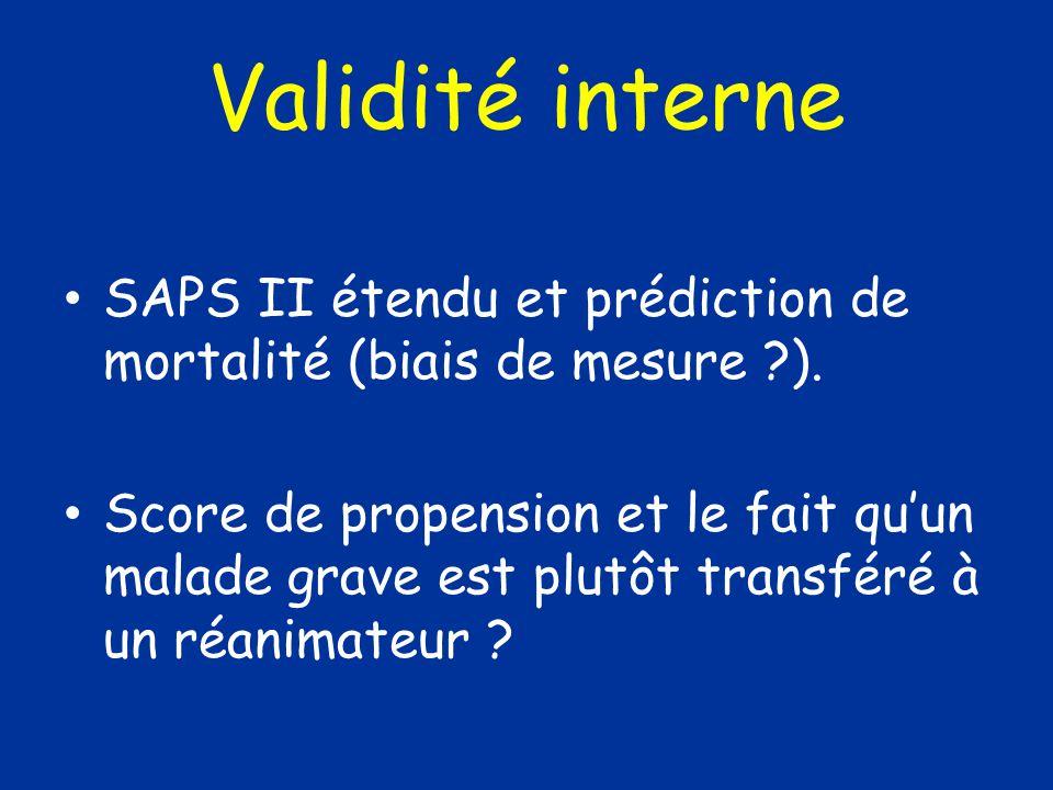 Validité interne SAPS II étendu et prédiction de mortalité (biais de mesure ).