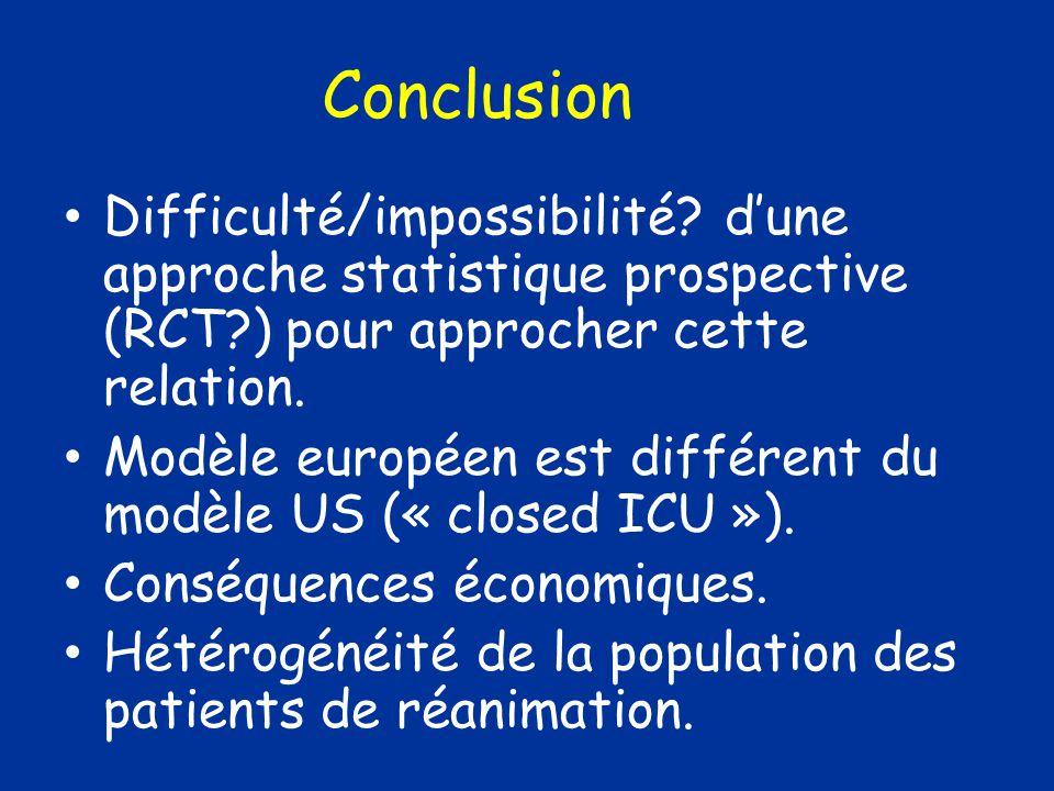 Conclusion Difficulté/impossibilité d'une approche statistique prospective (RCT ) pour approcher cette relation.