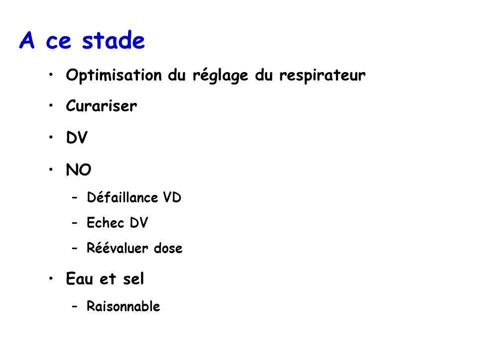 A ce stade Optimisation du réglage du respirateur Curariser DV NO
