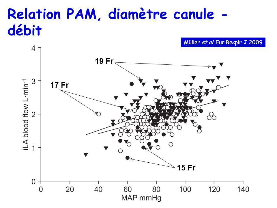 Relation PAM, diamètre canule - débit