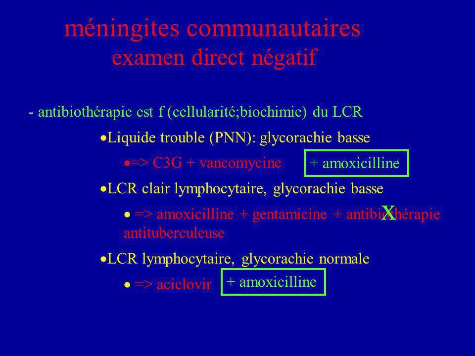 x méningites communautaires examen direct négatif