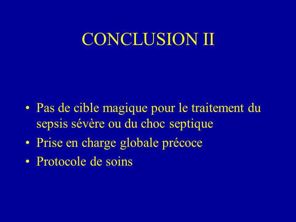 CONCLUSION II Pas de cible magique pour le traitement du sepsis sévère ou du choc septique. Prise en charge globale précoce.
