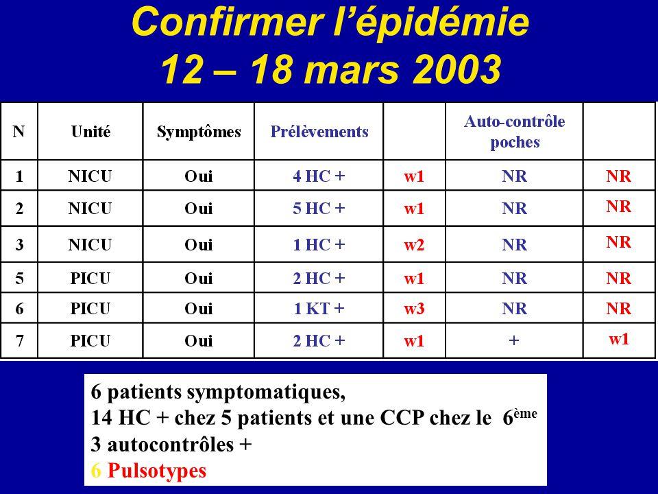 Confirmer l'épidémie 12 – 18 mars 2003