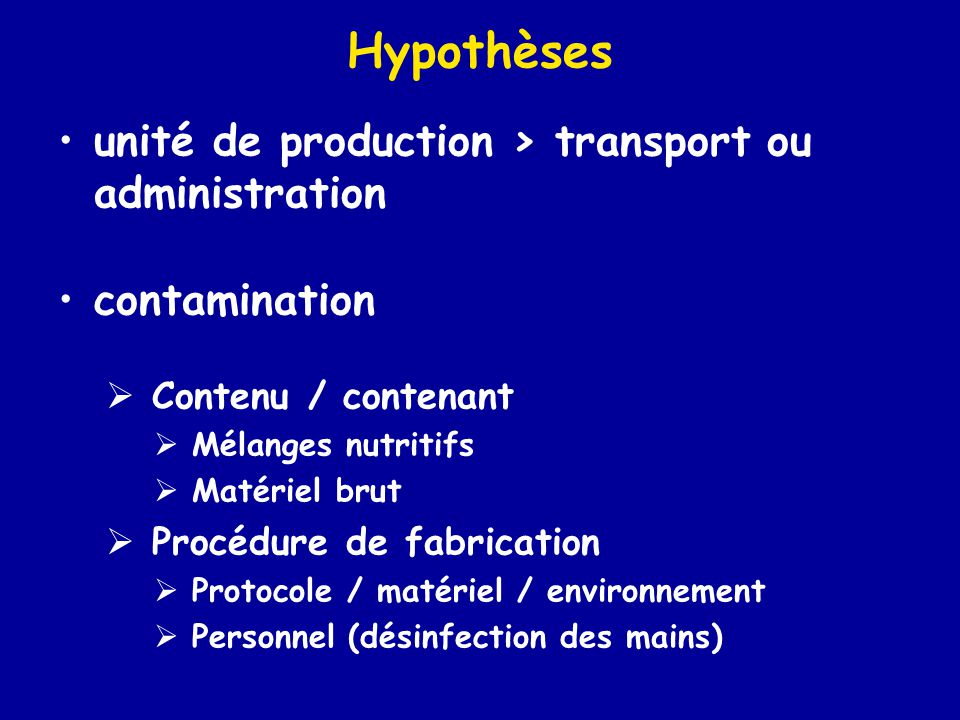 Hypothèses unité de production > transport ou administration