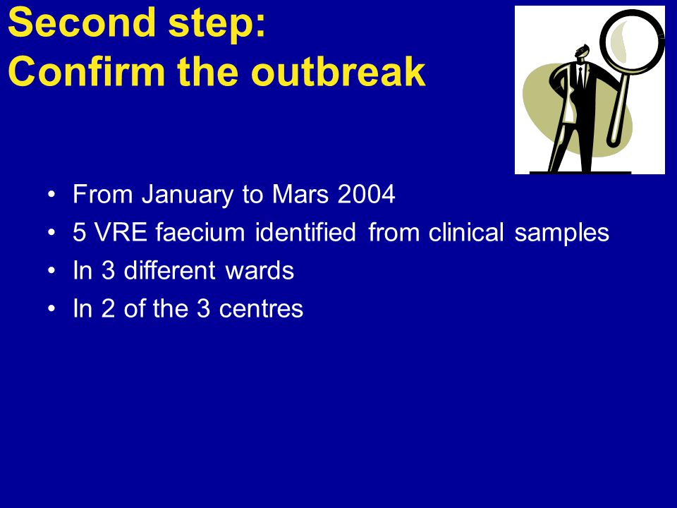 Second step: Confirm the outbreak From January to Mars 2004