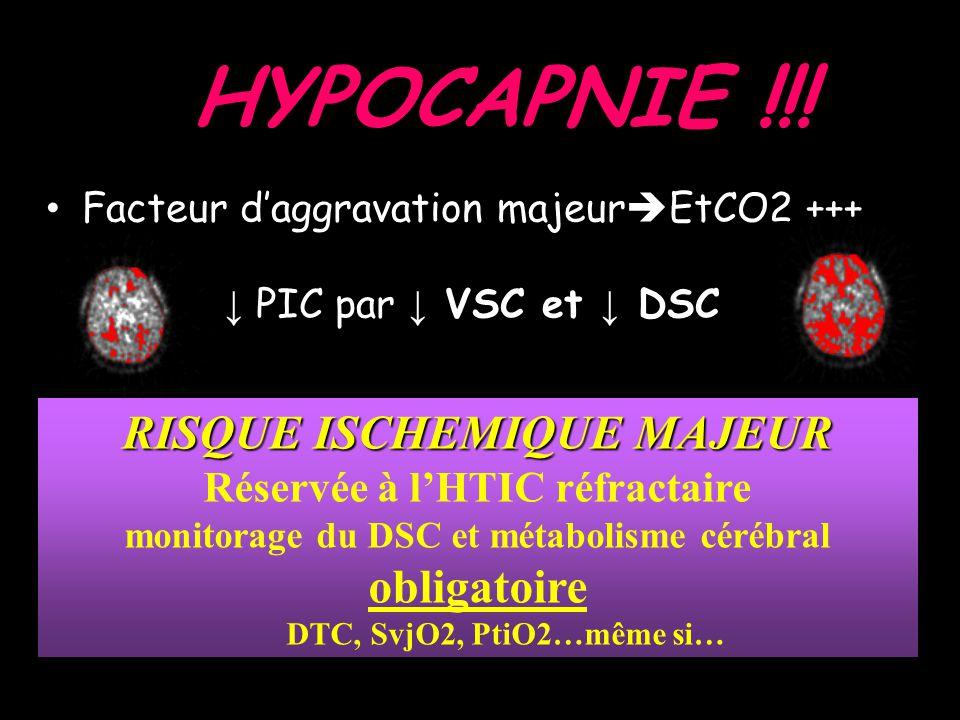 HYPOCAPNIE !!! RISQUE ISCHEMIQUE MAJEUR obligatoire