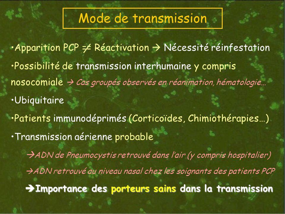 Mode de transmission Apparition PCP == Réactivation  Nécessité réinfestation.