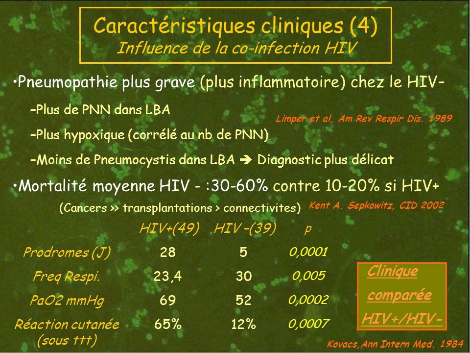 Caractéristiques cliniques (4) Influence de la co-infection HIV