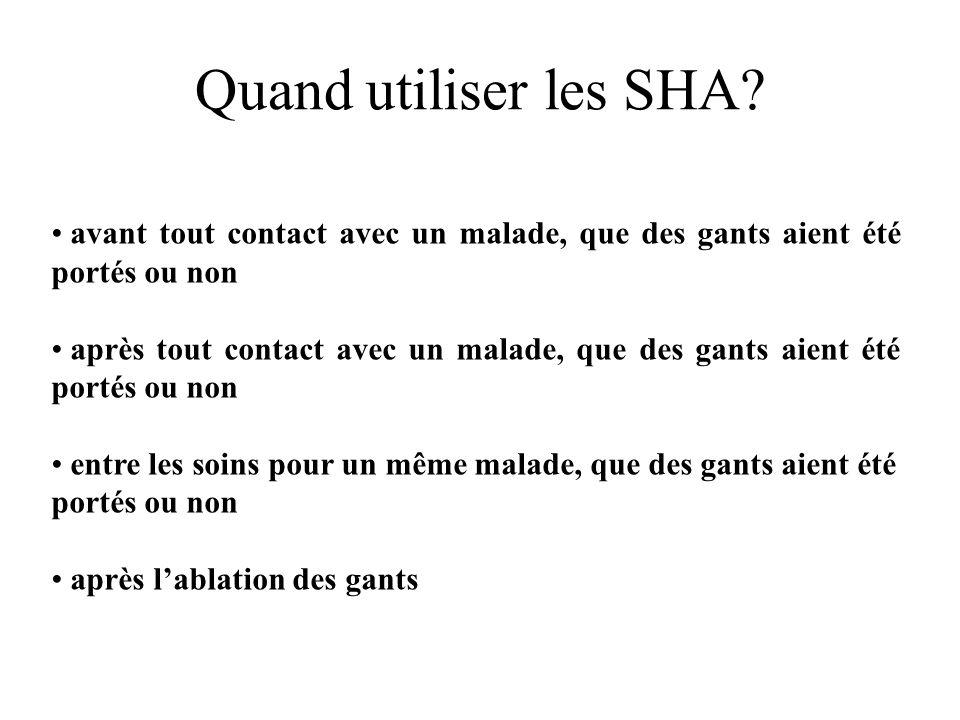 Quand utiliser les SHA avant tout contact avec un malade, que des gants aient été portés ou non.