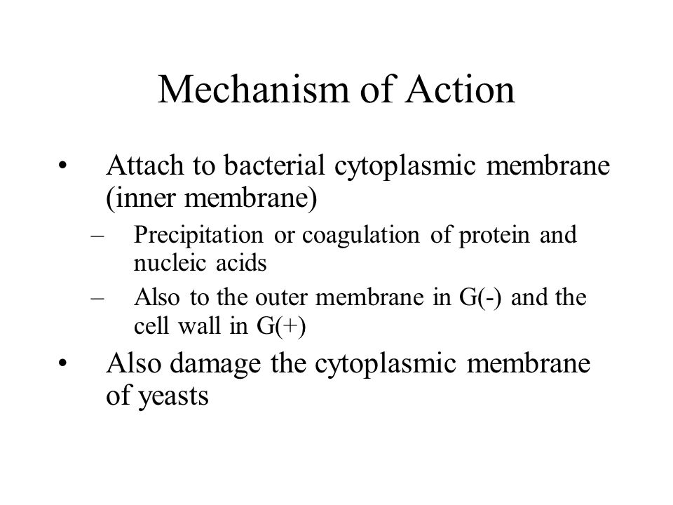 Mechanism of Action Attach to bacterial cytoplasmic membrane (inner membrane) Precipitation or coagulation of protein and nucleic acids.