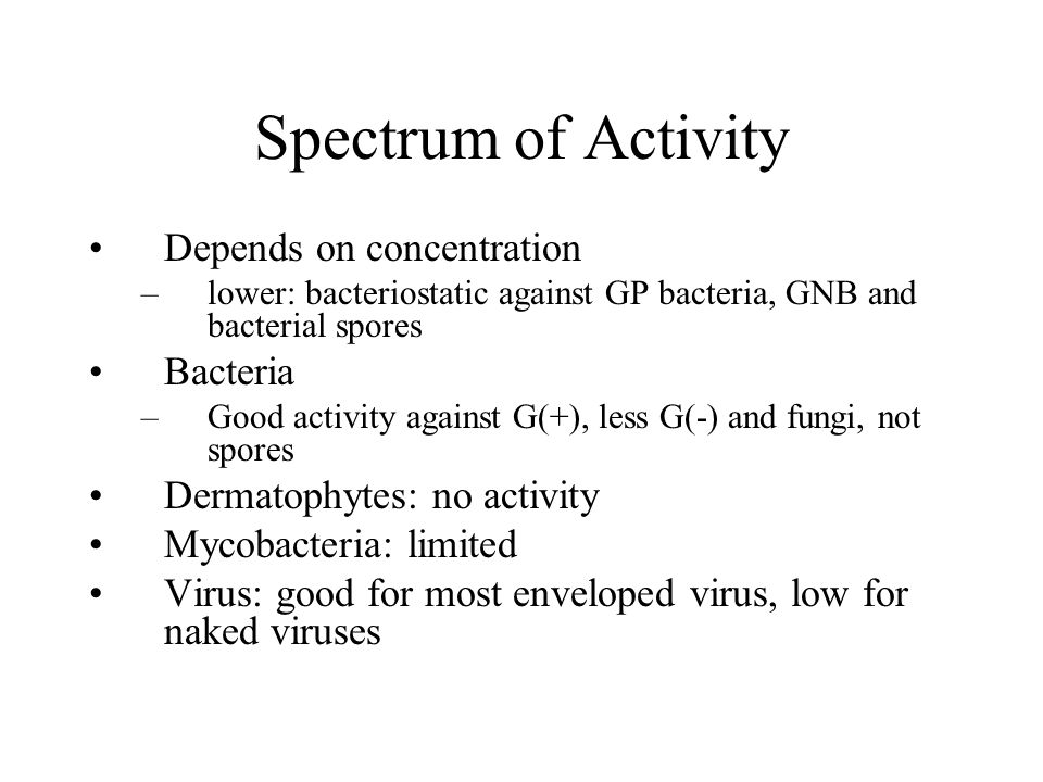 Spectrum of Activity Depends on concentration Bacteria