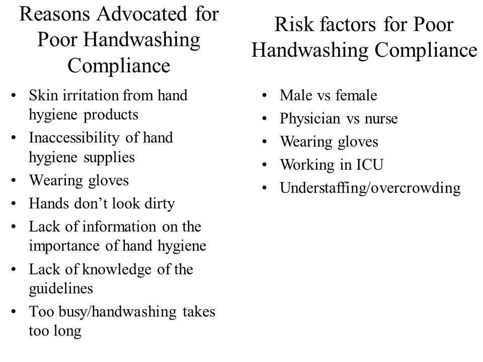Reasons Advocated for Poor Handwashing Compliance