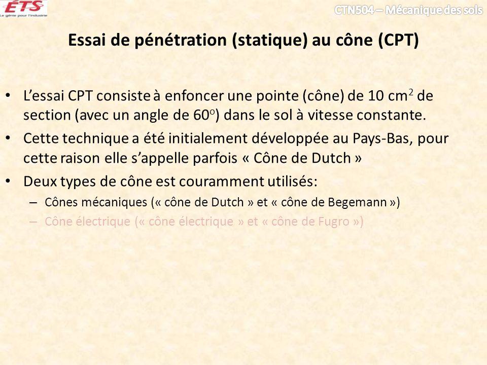 Essai de pénétration (statique) au cône (CPT)