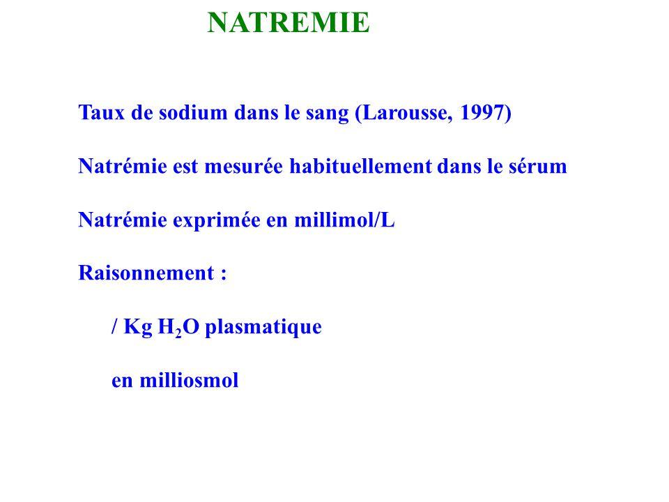 NATREMIE Taux de sodium dans le sang (Larousse, 1997)
