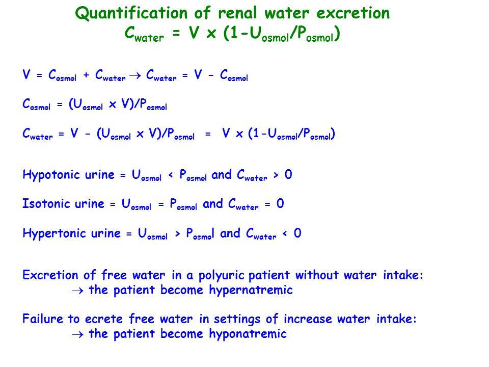 Quantification of renal water excretion Cwater = V x (1-Uosmol/Posmol)