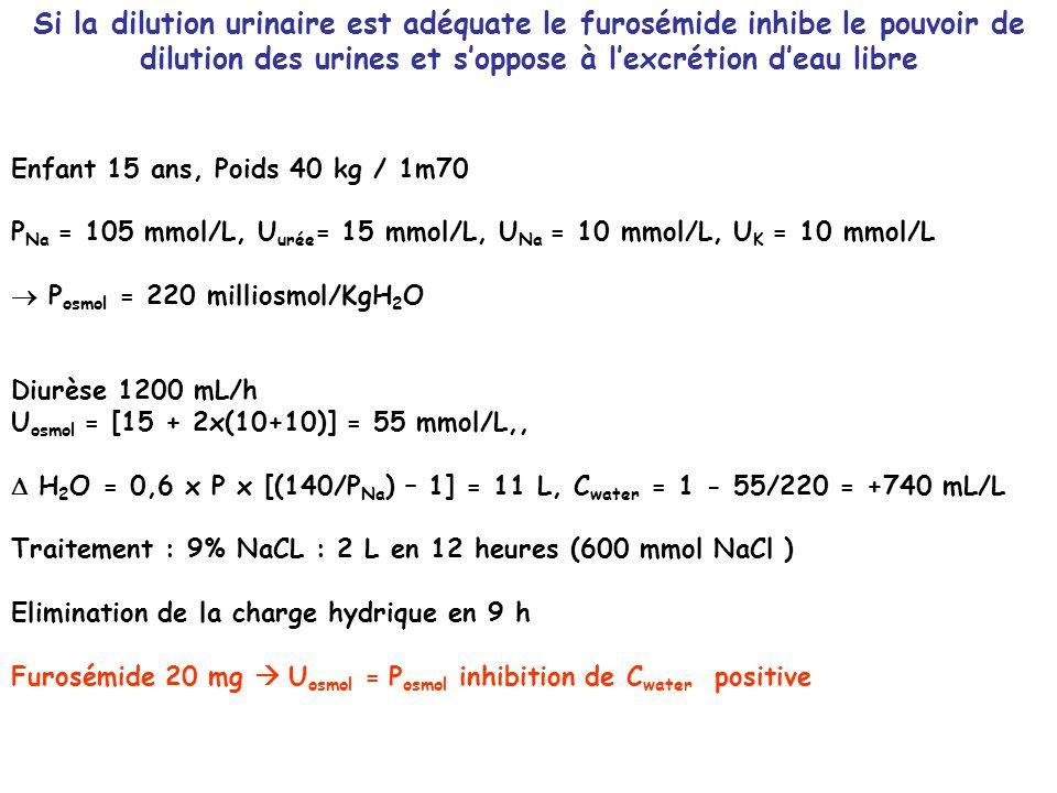 Si la dilution urinaire est adéquate le furosémide inhibe le pouvoir de dilution des urines et s'oppose à l'excrétion d'eau libre