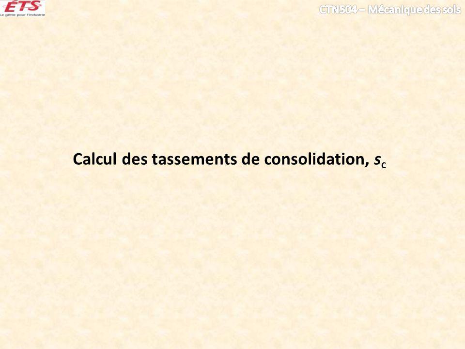 Calcul des tassements de consolidation, sc