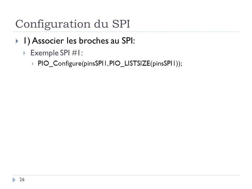 Configuration du SPI 1) Associer les broches au SPI: Exemple SPI #1: