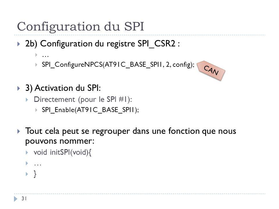 Configuration du SPI 2b) Configuration du registre SPI_CSR2 :