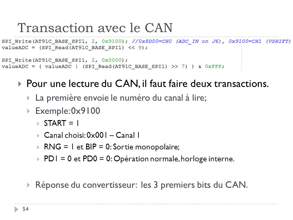 Transaction avec le CAN