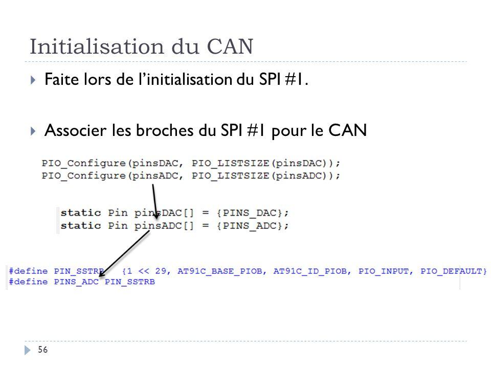 Initialisation du CAN Faite lors de l'initialisation du SPI #1.