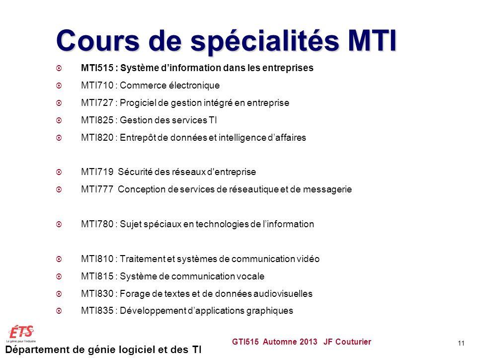 Cours de spécialités MTI