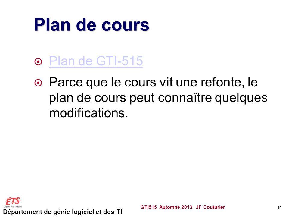 Plan de cours Plan de GTI-515