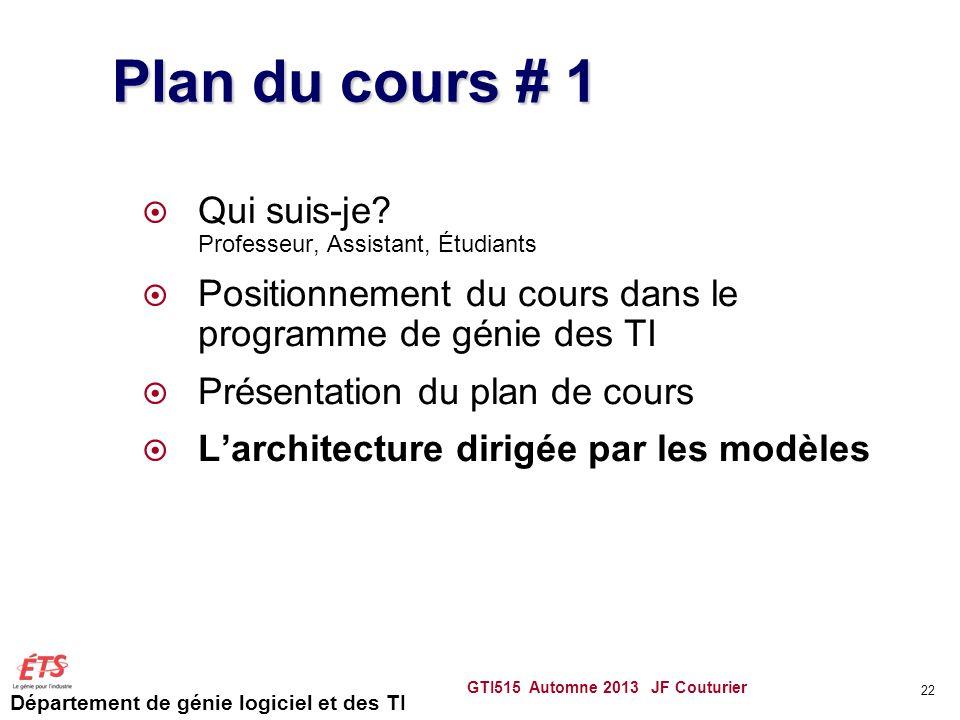 Plan du cours # 1 Qui suis-je Professeur, Assistant, Étudiants
