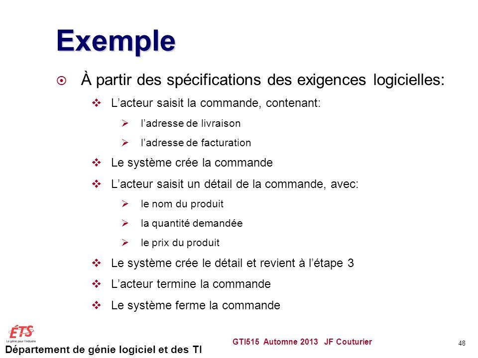 Exemple À partir des spécifications des exigences logicielles: