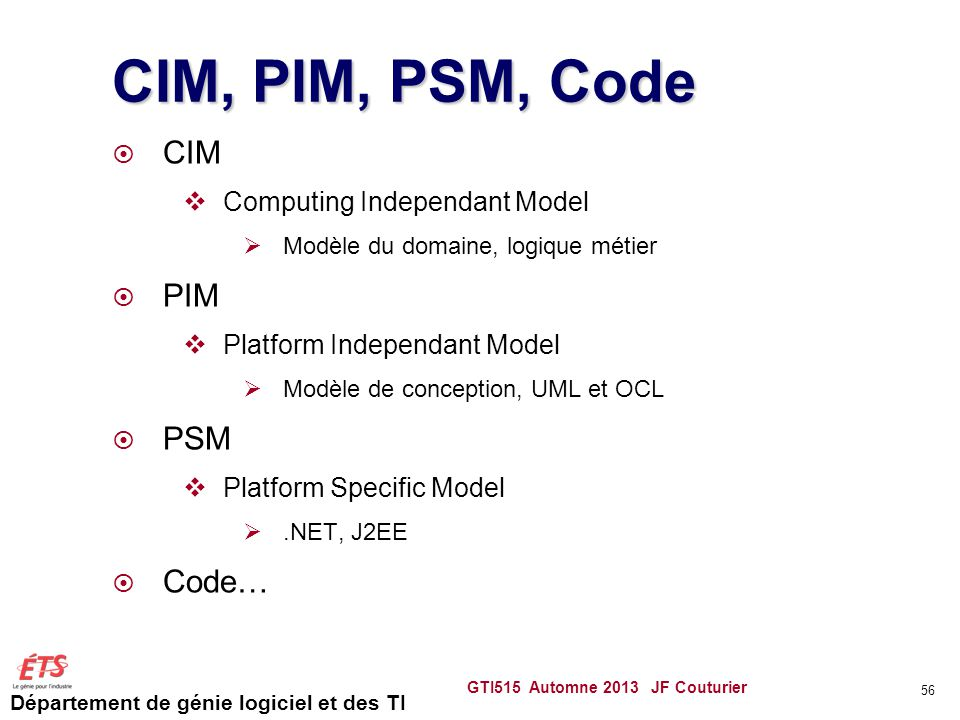 CIM, PIM, PSM, Code CIM PIM PSM Code… Computing Independant Model